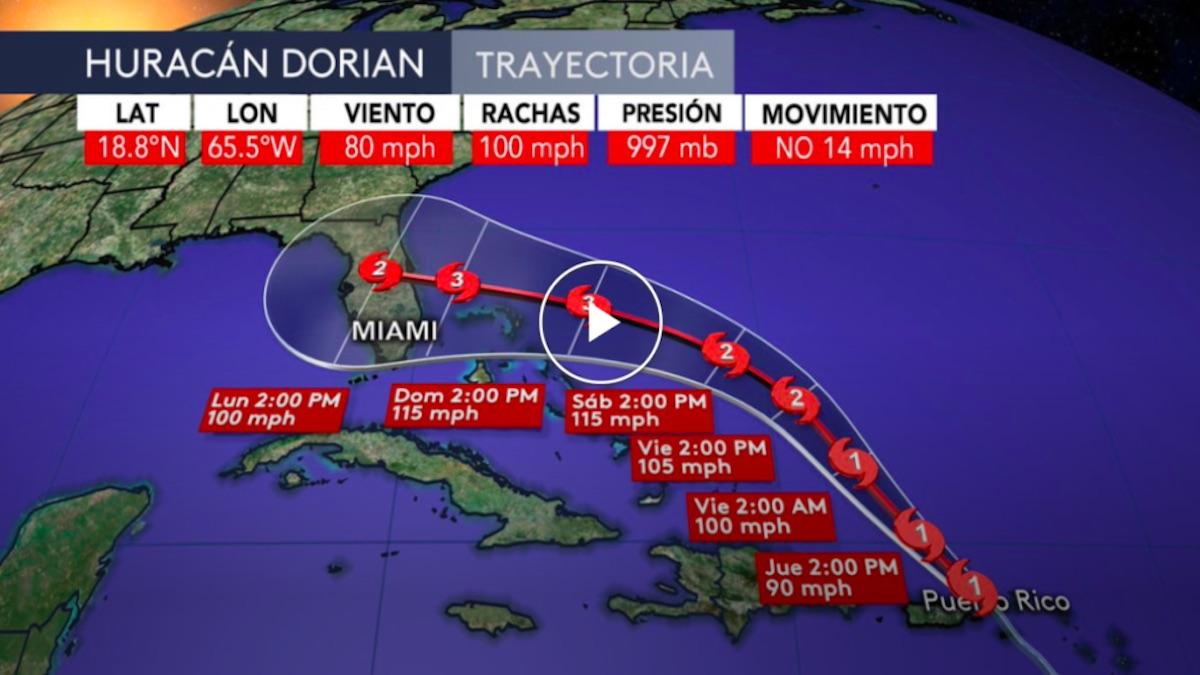 No se esperan efectos importantes asociados al huracán Dorian en Cuba, pero si ocasionará estragos en Florida