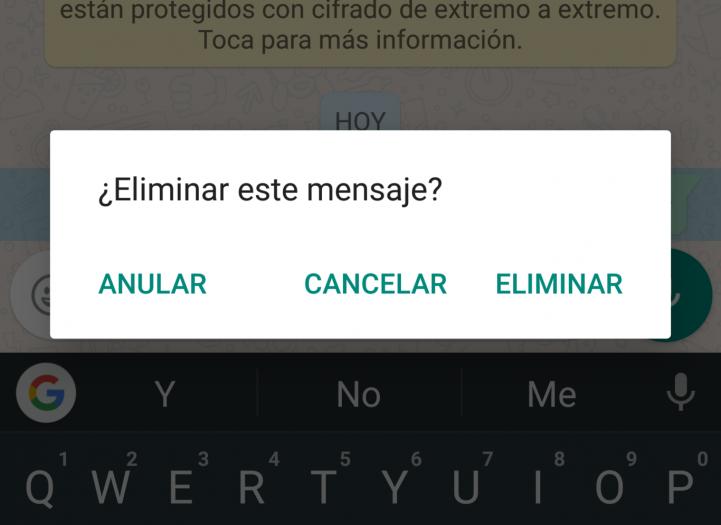 eliminar los mensajes